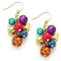 Style&co. Earrings, Gold-Tone Multi-Color Cluster Bead Drop Earrings - All Fashion Jewelry - Jewelry & Watches - Macy's