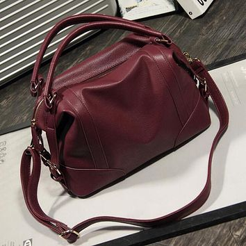 Loshaka Women Fashion Soft PU Leather Handbag Lichi Pattern Female Casual Solid Boston Shoulder Bag Classic Tote Retro Hobos