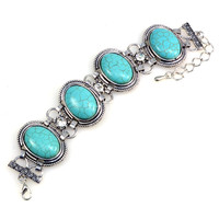 Antique Style Turquoise Blue and Silver Color Oval Stone Bracelet Jewelry - Western Country Girl Fashion Style