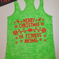 MeRRy CHRiSTMaS FiTNeSS ANiMaL. Ugly Christmas. Workout Tank Top. Running Tank. Crossfit Tank. Fitness Tank. Gym Shirt. Free Shipping USA