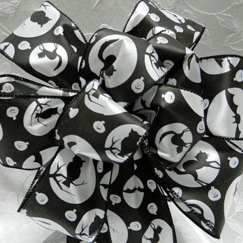 Black and White Halloween Bow printed with bats, owls, and cats