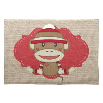 Custom Sock Monkey Baby Shower Gift Cloth Placemat