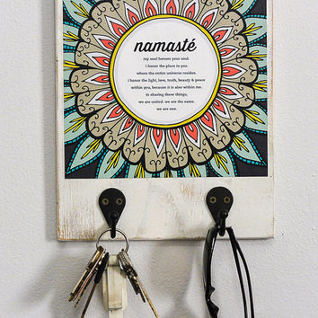 "Namaste Art Print with Hooks, 8"" x 10"", Wall Organizer, Entryway, Birthday Gift,"