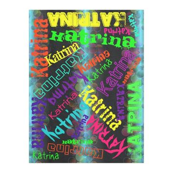 Black Blanket Colorful Bright Neon Name Collage