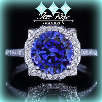 Cultured Kashmir Blue Sapphire Engagement Ring 8mm, 2ct Cultured Kashmir Blue Sapphire in a 14k White Gold Diamond Halo Setting