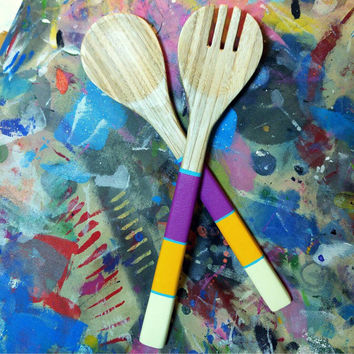 Salad servers Hand painted handle on pressed Bamboo