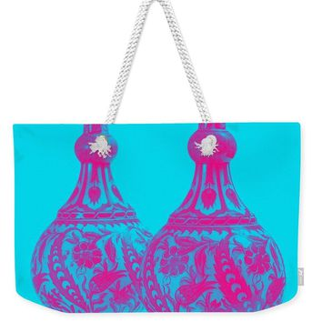 An Ottoman Iznik Style Floral Design Pottery Polychrome, By Adam Asar, No 21b - Weekender Tote Bag