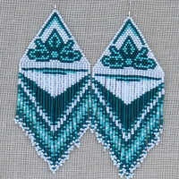 Native American Beaded Earrings Inspired. Extra Large Earrings. White, Turquoise Green and Teal Earrings. Dangle Long Earrings. Beadwork