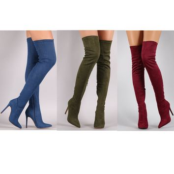 Suede Elastic Boots High Heel Thigh High Boots Women's Pointed Toe Zipper Sexy Over Th