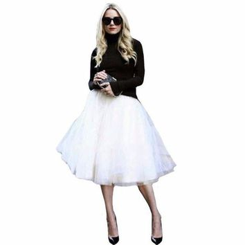 ICIK7G2 New Puff Women Chiffon Tulle Skirt White faldas High waist Midi Knee Length Chiffon plus size Grunge Jupe Female Tutu Skirts