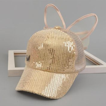 Trendy Winter Jacket Lovely Kids Baseball Cap Snapback Hats Girls Big Yarn Bow Sequin Mesh Children Summer Mesh Cap Sun Visor 3-8 Year Bone AT_92_12