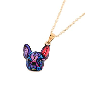 Fun Colorful Dog Necklace Love My Dog French Bulldog Hippie Boho Jewelry