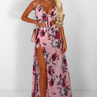 Save The Best For Last Pink Floral Split Maxi Skirt