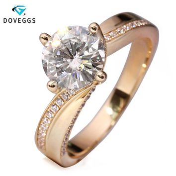 DovEggs 14K 585 Yellow Gold 2 Carat ct Center 8mm F Color Lab Grown Moissanite Diamond Engagement Ring For Women