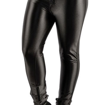 BadAssLeggings Women's Shiny Disco Pants Medium Black