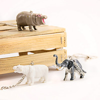 Toy necklace Elephant pendant minimalist necklace Retro toy fun jewelry Bear necklace Hippo necklace