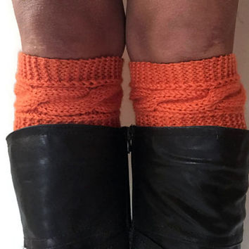 Orange Boot Cuffs Cable Knit Boot Liners Toppers