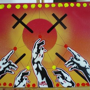 touch the sky painting,stencils,spray paints,canvas,sunshine,crosses,hands,tattoos,circles,acrylic,markers,orange,yellow,red,religion,faith