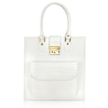 L.A.P.A. Designer Handbags White Croco Stamped Leather Tote Bag