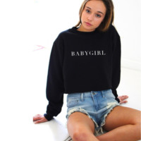 Letter printing long-sleeved sweater men and women the same paragraph BABYGIRL