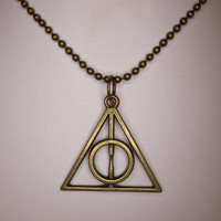 The Deathly Hallows bronze pendant necklace with ball chain