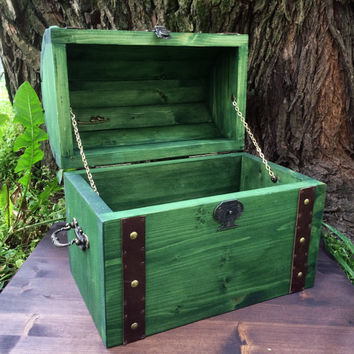 wooden chest / green chest / Small Wooden Chest /Wood Box