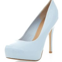 Pale Blue Patent Platform Court Shoes