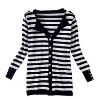 TopStyliShop Woman's Stripes Pattern V Neck Cardigan with Lapels S091907 Color Black