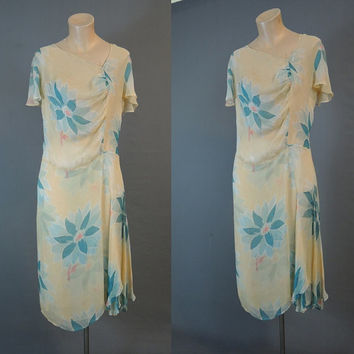 1930s Chiffon Floral Dress, 36 bust, Pale Yellow with Turquoise Flowers, Vintage 30s Crinkle Chffon Dress