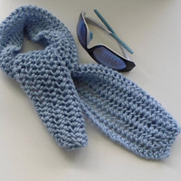 Light Blue Cotton Blend Spring or Fall Scarf Lacy No Wool Scarf Gift Idea Ready to Ship