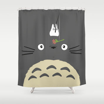 Cute Totoro Shower Curtain by Minette Wasserman