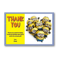 Despicable Me Minion Thank You Card Kids Birthday Invitation Party Design
