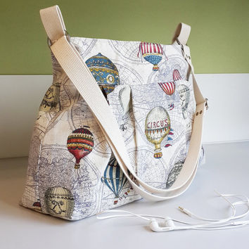 Large Diaper Bag in Hot Air Balloon Linen - Custom Your Diaper Bag Handmade Crossbody Bag Messenger 7 pockets Adjust Strap FOLK SheetaDesign