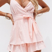 Forehead Kisses Playsuit (Baby Pink)