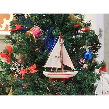 Wooden Red Sailboat Model Christmas Tree Ornament 9""
