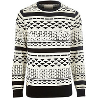 River Island MensBlack RVLT graphic print knitted sweater
