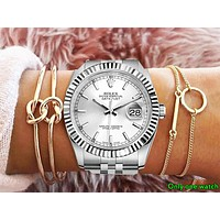 Rolex Tide brand men and women models simple and versatile fashion quartz watch silver