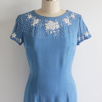 Vintage 60s Canary Blue Beaded Raw Silk Dress | Medium 6 8