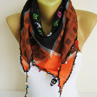 Trend Scarf- Skull Scarf- Scarves-gift Ideas For Her Women's Scarves-christmas gift- for her -Fashion accessories