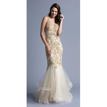 Tiered Mermaid Beaded Long Formal Dress Open Back Champagne