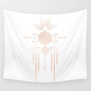 Mandala Flower of Life Moon Pink Rose Gold Wall Tapestry by naturemagick