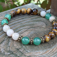 Stretch Beaded Bracelet in TigerEye and Green Aventurine - Bohemian Hippie