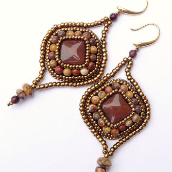 Red Tiger Eye Bead Embroidered Arabesque Earrings - Beaded Red Tiger Eye, Birds Eye Rhyolite, Bronze Gold Drop Earrings