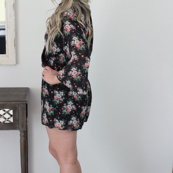 Queens Don't 3/4 Sleeve Floral Romper