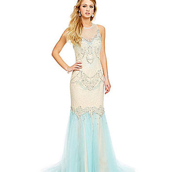 Savannah Nights Ornate Beaded Body Mermaid Gown | Dillards.com