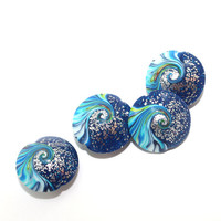 Polymer Clay beads, swirl lentil beads in blue, turquoise and white, unique pattern with silver dots, elegant beads Set of 4