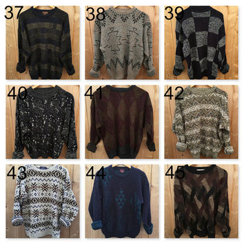 Oversized Sweaters CHOOSE 1990's, Hipster abstract printed chunky knit pullover, boyfriend fit, old sweater, baggy soft cotton