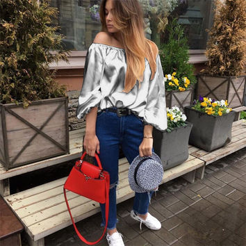 2017 Plus Size Woman T-shirts Sexy Slash Neck Loose Silver Female Pullovers Tee Top Spring Summer Solid Silk Woman T-shirts