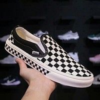 Vans Classic Popular Slip-On Old Skool Checkerboard Casual Canvas Sneakers Sport Shoes Black I-A36H-MY