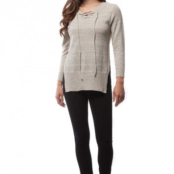 Two Toned Sweater with Lace Up Front